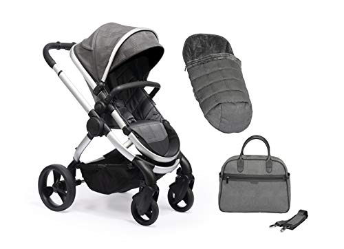 Icandy Peach Satin Dark Grey Check Pushchair, IC2384, Carrycot Set with Bag & Duo Pod
