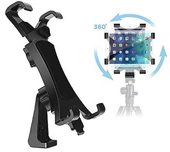 IPOW 360 Degree Rotatable Break-Resistant iPad Tripod Mount Adapter Universal Tablet Clamp Holder Fits Ipad Ipad Air Pro Mini Microsoft Surface Nexus for Tripod Monopod Selfie Stick,Tabletop