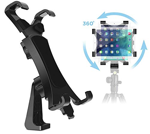 IPOW 360 Degree Rotatable Break-Resistant iPad Tripod Mount Adapter, Universal Tablet Clamp Holder Fits Ipad, Ipad Air, Pro, Mini, Microsoft Surface, Nexus, for Tripod Monopod, Selfie Stick,Tabletop