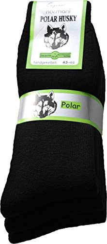 normani 6 Paar Sehr warme Polar Husky® Socken mit Vollplüsch & Schafwolle/Nie Wieder kalte Füße! Farbe Schwarz Größe 43/46
