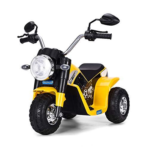 Costway Moto Electrique pour Enfants 6 V Moto Véhicule Electrique pour Enfant à partir de 3 à 5 Ans Capacité de Charge 20KG Vitesse : 3-4km/h (Jaune)