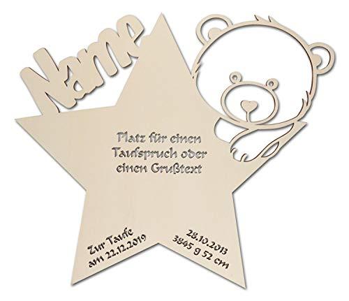 Schlummerlicht24 Nachtlicht Baby-Lampe Teddy Stern Baby-Geschenke zur Taufe mit Namen Tauf-spruch Gravur personalisiert Geburt-sgeschenke Taufgeschenke für Junge-n Mädchen Paten-Kind Mutter Zimmer