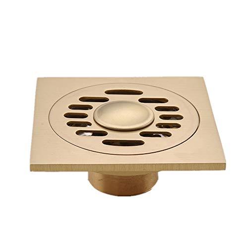 QuRRong Bodenablauf Alle Kupferkern Bodenablauf Antike Messingabfall Ablaufsieb Abdeckrost for Küche Badezimmer WC für Hotel Badezimmer (Color : Gold, Size : ONE Size)