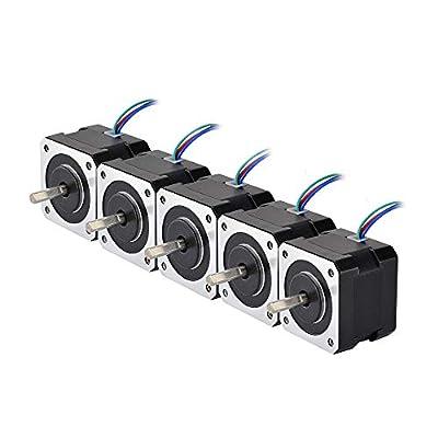 STEPPERONLINE 5PCS Nema 17 Stepper Motor 26Ncm 12V 0.4A w/ 1m Cable & Connector 4-Wire 42x42x34mm 1.8 Degree for DIY CNC 3D Printer