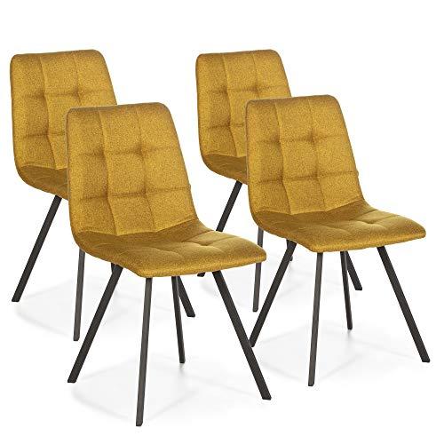 VS Venta-stock Set di 4 sedie per Sala da Pranzo Mila rivestite in Tela Senape, Certificazione SGS, 58 cm (Larghezza) x 45 cm (profondità) x 90 cm (Altezza)