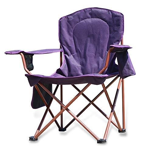 Lejzh zeer grote gevoerde vierstoelen, inklapbare camp-klapstoelen met bekerhouder, krachtige steunen, 125 kg, paars, 64 x 64 x 104 cm