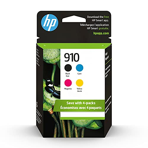 HP 910   4 Ink Cartridges   Black, Cyan, Magenta, Yellow   Works with HP OfficeJet 8000 Series   3YL61AN, 3YL58AN, 3YL59AN, 3YL60AN