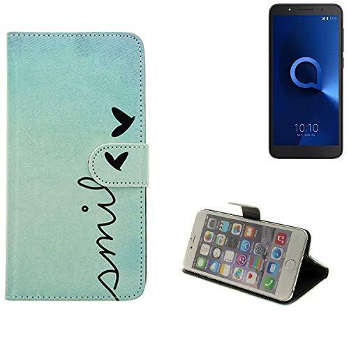 K-S-Trade® Schutzhülle Für Alcatel 1C Dual SIM Hülle Wallet Case Flip Cover Tasche Bookstyle Etui Handyhülle ''Smile'' Türkis Standfunktion Kameraschutz (1Stk)