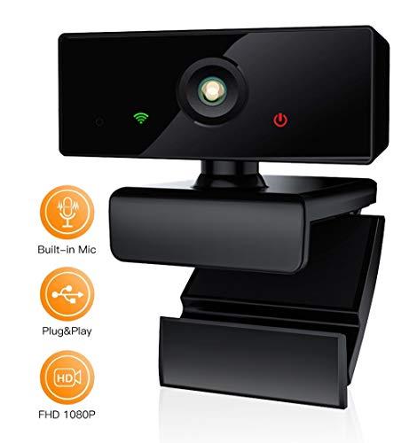 Webcam PC, 1080p/30fps, HAMTOD C80 Pro Web CAM con Micrófono Reductor de Ruido para Reunión, Curso por Internet, Videollamada, Rotación de 360° Gran Angular de 110° -Portátil, Mac, Windows, macOS