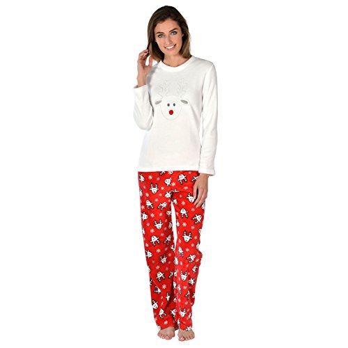 Ladies Rudolf Reindeer Fleece Pyjama Set PJs Top & Bottoms Christmas Nightwear S Red