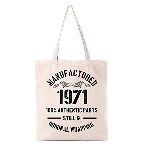 1971 Birthday Gifts for Women Men | Funny 50th Birthday Gift Vintage 1971 Natural Cotton Reusable Tote Bag Classic 1971 Shoulder Bag Gifts for Friends Coworker (White)