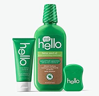 Hello Oral Care Hemp seed oil fluoride free whitening sls free toothpaste + floss + mouthwash