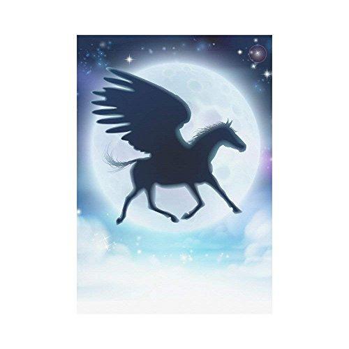 BoloHome Pegasus Paard Vliegen tegen de Full Moon Garden Vlag Outdoor Banner 28 x 40 inch, Unieke Geweldige Eenhoorn Decoratieve Grote Huis Vlaggen voor Party Yard Home Decor, 100% Polyester