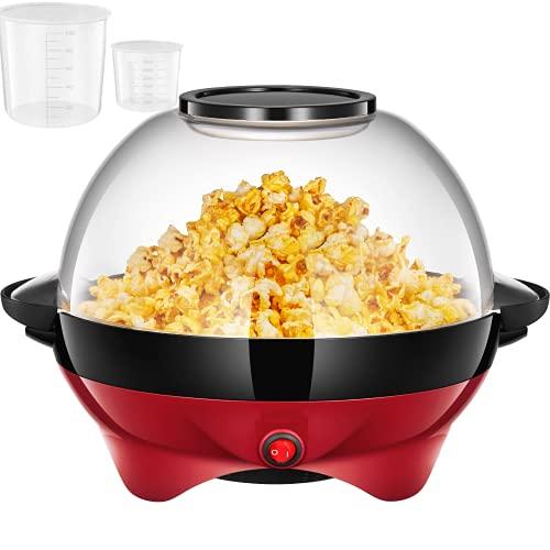 Popcornmaschine für Zuhause, Popcorn Maker Machine mit Zucker & Öl, Abnehmbare Heizfläche, Antihaftbeschichtung, 5L Popcorn Popper, Großer Deckel als Servierschale