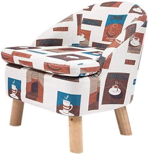 POETRY Silla de sofá pequeña con Respaldo Taburete tapizado con Funda de Lino Desmontable Patas de Madera Taburete de Mesa de Centro Sala de Estar-d F