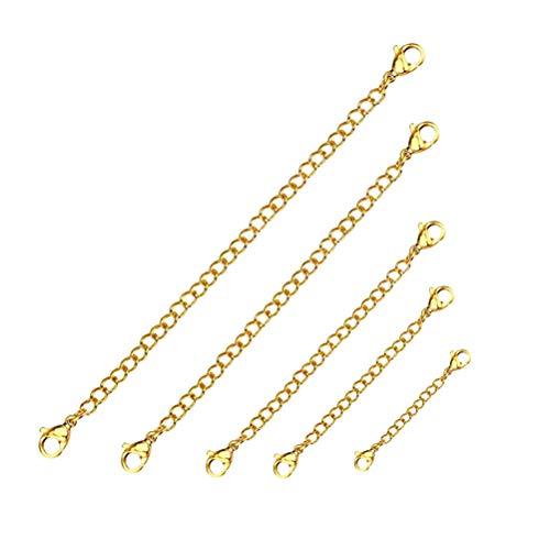 Artibetter 5Pcs Edelstahl Kettenverlängerung mit Karabinerverschluss Halskette Extender Armband Extender Ketten für Schmuckherstellung (Gold)
