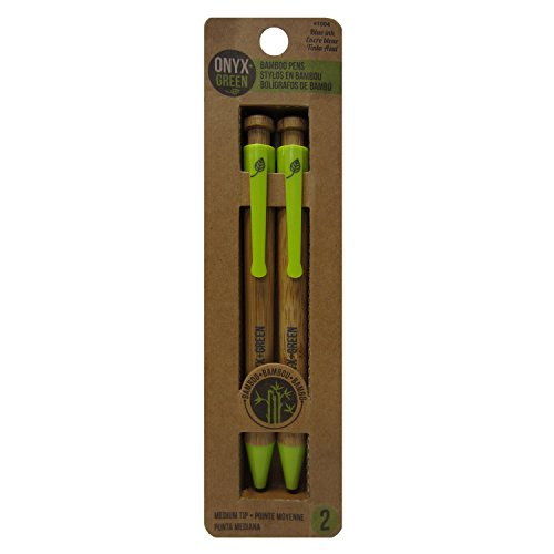 Onyx and Green 2-Pack Retractable Ballpoint Pens, Bamboo/Corn Plastic, Med, Blue (1004)
