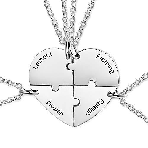 XiXi Amistad para 4 Collar Personalizado Collar con Colgante de Corazón Acero Inoxidable Personalizable Collar para Amiga Mujeres Regalo para Aniversario San Valentín Navidad