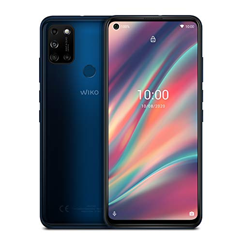 WIKO VIEW5 Smartphone (6,55 Zoll (16,63 cm), 5000 mAh Akku, 48 MP KI-Quad-Kamera, O-Display, 64GB + 3GB, Dual-SIM, Android 10) - Midnight Blue