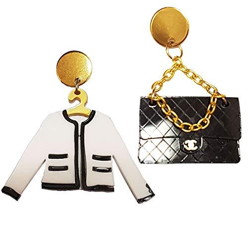 VIALESCARPE - Pendientes colgantes artesanales Arky Fly de plexiglás de colores trabajados con láser. Chaqueta y correa para mujer. Blanco negro y dorado.
