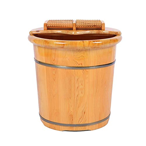 Baibao Sauna de madera Kit de madera del pie bañera hidromasaje Benna for pediluvio, masaje, spa, sauna, empapa pediluvio pie bañera con tapa de pedal Wash mejora el sueño