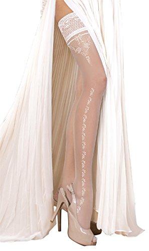 Unbekannt Ballerina Halterlose Strümpfe, weiss, mit Muster, Strapsoptik | Hochzeitsstrümpfe Größe Large/X-Large