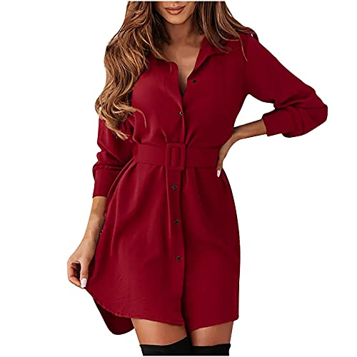 AOCRD Vestido de mujer con manga larga, elegante, ajustado, solapa, de manga larga con cinturón, informal, midi, con botones, ligero, cómodo, para otoño e invierno., rojo, XXL