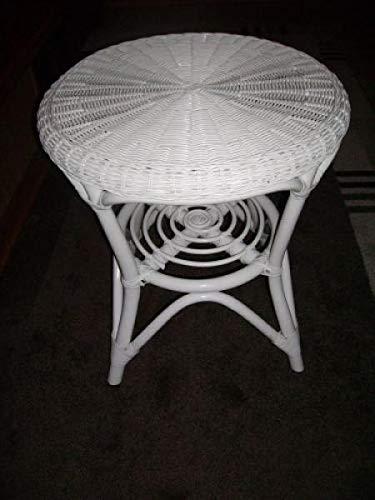 Rattan im Trend - Tavolino rotondo in rattan, colore: Bianco
