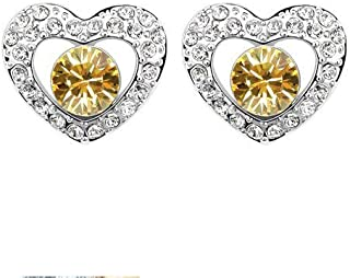 Robella Swarovski Elements Earring Encrusted With WhiteSwarovski Crystals ROB-051