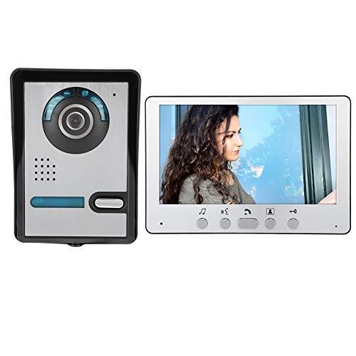 Videoportero Timbre de seguridad Sistema de intercomunicador Cámara de visión nocturna con cable de 7 pulgadas Videoportero Kit de teléfono de puerta 110-240V(UE 110-240 V)