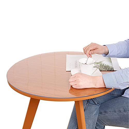DTDMY Cubierta Redonda de la Tabla de la Tabla de la Tabla del PVC del Protector de Vinilo de plástico a Prueba de Agua Mantel de la Mesa Anti-Caliente Espesor 2mm manteles Transparentes