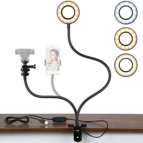 Pipishell Webcam Halterung mit Ringlicht, 3 Farbe 10 Helligkeitsstufen, Webcam licht für meisten Handy und Webcam wie Logitech c920, c922, c930 usw, Perfeckt für Tik Tok, Make-up Fotografie usw.