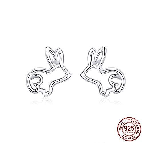 AdronQ Sketch Rabbit Bunny Ohrstecker für Frauen 925 Silber Ohr Ohrstecker Schmuck Geschenke für Mädchen Modeschmuck