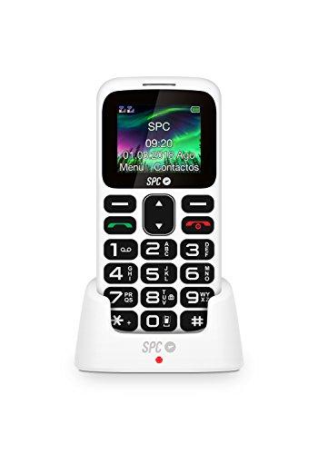 SPC Symphony - Teléfono móvil bluetooth, Dual Sim, con letras y números grandes y 5 números SOS – Color Blanco