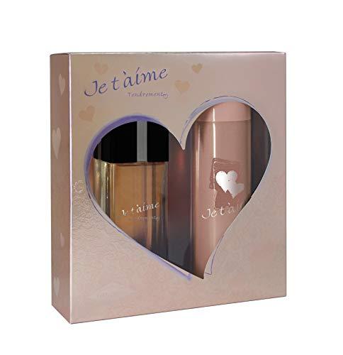 JE T'AIME Tendrement • Coffret pour Femme • Eau de Parfum 100 ml + Déodorant 150 ml • Vaporisateur • Spray • Parfum Femme • Cadeau • EVAFLORPARIS