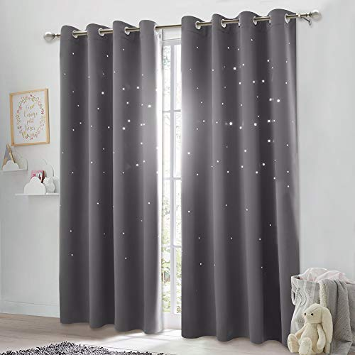 NICETOWN Blackout Curtain with Die-Cut Stars - Starry Night Sleep-Enhancing Cosmic Themed Twinkle Drapes for Baby Nursery, Draft Blocking Draperies (2-Pack, W52 x L84 inch, Gray)