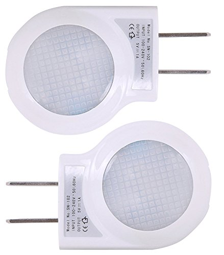 Portable Plug-in 0.7W Travel LED Night Light - 2 Pack of White