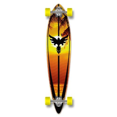 Yocaher Beach Series Complete Pintail Skateboards Longboard Cruiser w/Black Widow Premium 80A Grip Tape Aluminum Truck ABEC7 Bearing 70mm Skateboard Wheels (Complete - Pintail - 01 - Beach)
