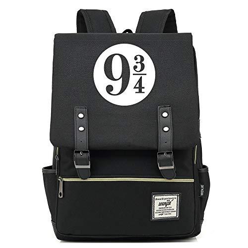 NYLY Backpack per bambini Junior High School Student Bag Harry Potter leggero impermeabile Oxford Cloth zaino unisex Grande Nero C