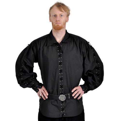 Baumwollhemd Piratenhemd Pirat Hemd geschnürt Gr. XXL 495 Schwarz