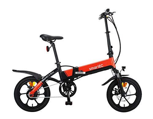 smartEC Camp-Mini Klapprad Mini E-Bike, 16 Zoll, Hinterrad-Nabenmotor, Fahrunterstützung 25 km/h, Samsung Li-Ion-Akku 36V/250 Watt, Anfahrhilfe, Reichweite 60 km (Orange)