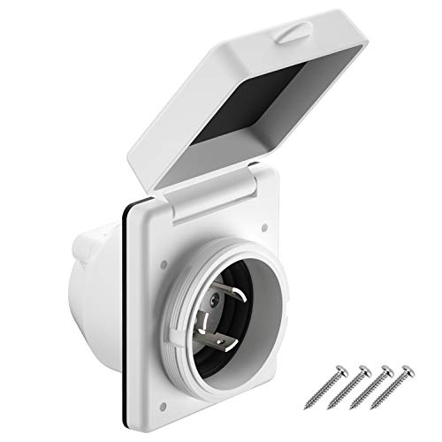 Kohree RV Power Inlet 125V 30 AMP Power Plug Twist Lock Inlet with 3 Stainless Steel Pins and Screws, White