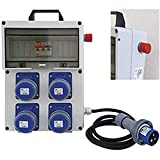 quadro elettrico portatile termoplastico a 4 prese 220v 16a pvc con fungo di emergenza marca vb serie pl