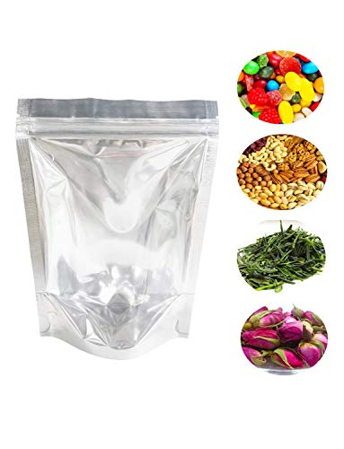 100 PCS Resealable Mylar Bags Stand Up Foil Ziplock Bags by Lauren(5 x 8 Inches)