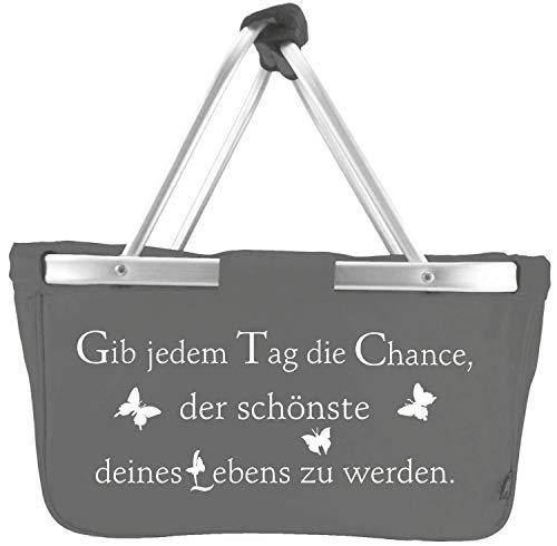 Mein Zwergenland Faltbarer Einkaufskorb mit Alurahmen Mark Twain, 28 L, grau