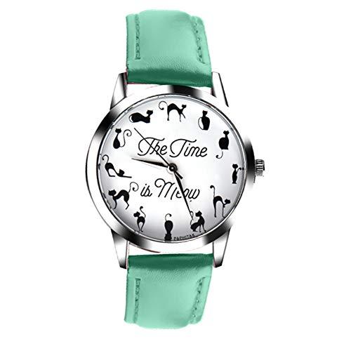YUnnuopromi - Reloj de pulsera para mujer, diseño de gato con letra y esfera de piel sintética, color verde