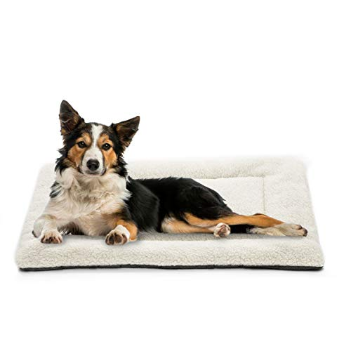 INVENHO Dog Bed Mat Comfortable Soft Crate Pad Anti-Slip Washable Dog Crate Pad for Large Medium Dogs & Cats White 35''x23'' Bed Mats