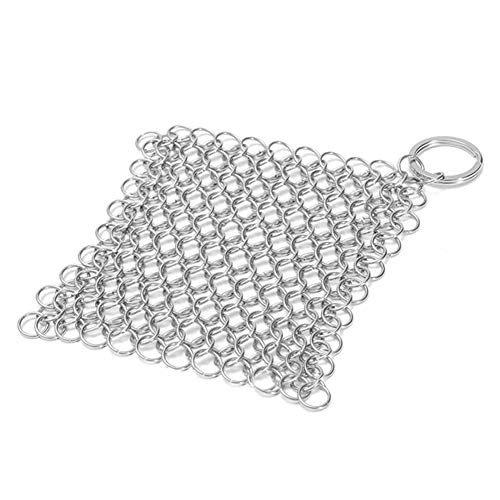 QOONESTL Scrubber for Cast Iron Pans,Stainless Steel Cast Iron Cleaner Chain- Scrubber Cookware Kitchen Tool-for Skillet Pan Pot Baking Sheet,Tea Pot,Cookie Sheet,10x10cm