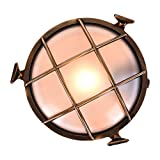 LSLVKEN Lámpara de Pared de Ojo de Buey para Exteriores de Rotterdam, lámpara de latón Ovalada Lámpara de Pared náutica Marina Luz Vintage Industrial, lámpara LED para Barcos [Clase energética A ++]