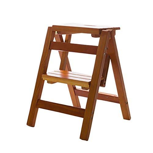 WLD Multifunktionale Faltbare Trittschemel Holzleiter 2 Stepsshelf Leiter Familie Küche Bibliothek, 150 Kg Kapazität (3 Farben) Ladder hgfjhgjhfgfdhg/Walnut Farbe
